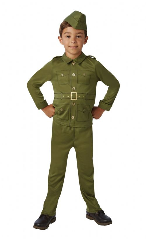 Boys WW2 Soldier Boy Costume WWI Book Day Fancy Dress Outfit